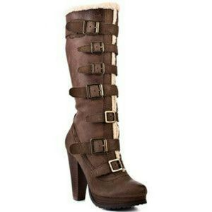 REPORT ARMSTRONG LEATHER TALL BOOTS LIGHT BROWN 7